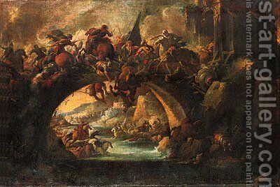 A battle on a bridge during a siege by (after) Francesco Graziani, Called Ciccio - Reproduction Oil Painting