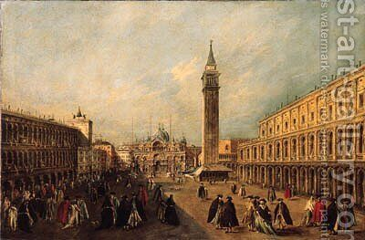 The Basilica di San Marco, Venice by (after) Francesco Guardi - Reproduction Oil Painting