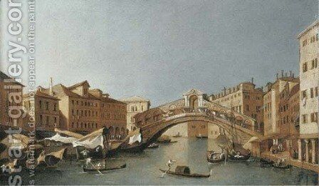 The Grand Canal, looking towards the Rialto Bridge, Venice by (after) Francesco Guardi - Reproduction Oil Painting