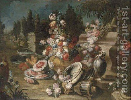 A landscape garden with urns, platters, ewers of mixed flowers and melons by (after) Francesco Lavagna - Reproduction Oil Painting