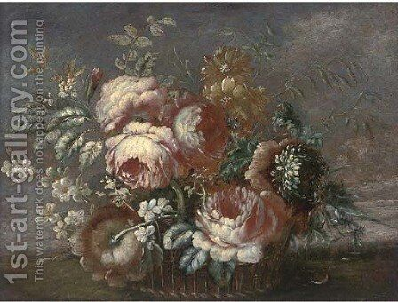 Roses, chrysanthemums and other flowers in a basket, a landscape beyond by (after) Francesco Lavagna - Reproduction Oil Painting