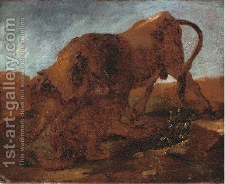Wolves attacking a bull by (after) Francesco Londonio - Reproduction Oil Painting