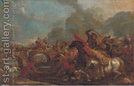 A cavalry skirmish between Christians and Turks by (after) Francesco Monti, Il Brescianino - Reproduction Oil Painting