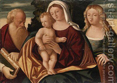 The Madonna and Child with Saints Jerome and Catherine by (after) Francesco Rizzo Da Santa Croce - Reproduction Oil Painting