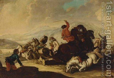 A cavalry skirmish by (after) Francesco Simonini - Reproduction Oil Painting