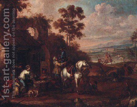 Sportsmen taking refreshment and playing cards at an inn by (after) Francesco Simonini - Reproduction Oil Painting