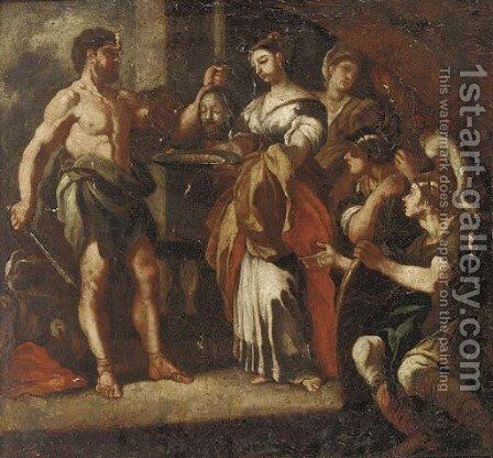 Salome receiving the head of Saint John the Baptist by (after) Francesco Solimena - Reproduction Oil Painting