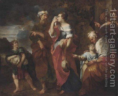 The Banishment of Hagar and Ishmael by (after) Francesco Solimena - Reproduction Oil Painting