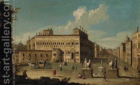 The Piazza Quirinale, Rome by (after) Francesco Tironi - Reproduction Oil Painting