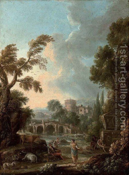 An Italianate river landscape with herdsmen on a path, a fortified tower beyond by (after) Francesco Zuccarelli - Reproduction Oil Painting