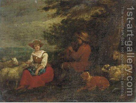 A shepherd playing a flute to a shepherdess with sheep and a dog by (after) Francesco Zuccarelli - Reproduction Oil Painting