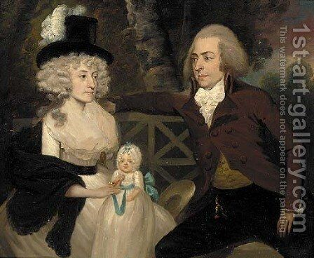 A group portrait of a husband, wife and their child by (after) Francis Alleyne - Reproduction Oil Painting
