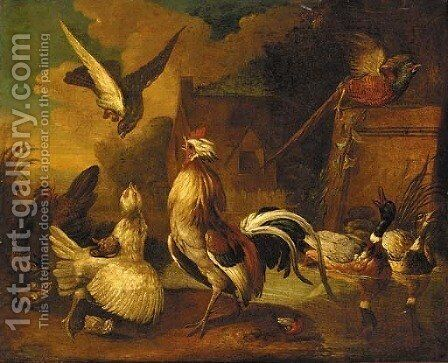 A hawk attacking a cockerel, with chickens by (after) Francis Barlow - Reproduction Oil Painting