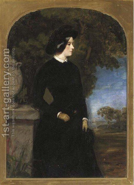 Portrait of a lady by (after) Sir Francis Grant - Reproduction Oil Painting
