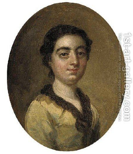 Portrait of a young lady, small bust-length, in a yellow dress by (after) Hayman, Francis - Reproduction Oil Painting