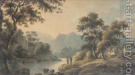 Figures in a romantic landscape by (after) Nicholson, F. - Reproduction Oil Painting