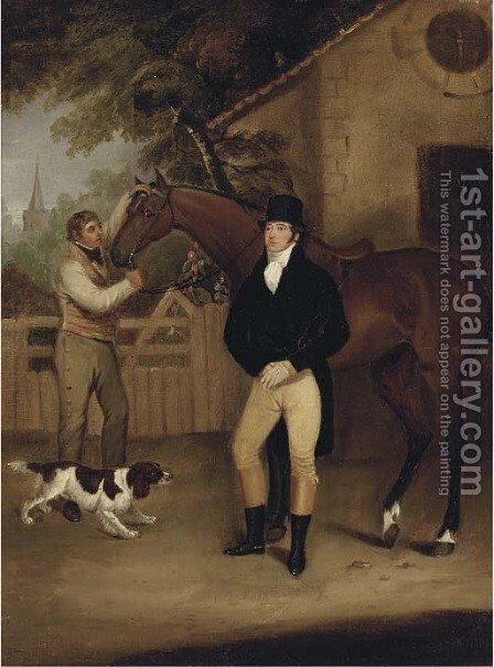 Portrait of a gentleman with his bay hunter held by a groom by (after) Francis Wheatley - Reproduction Oil Painting