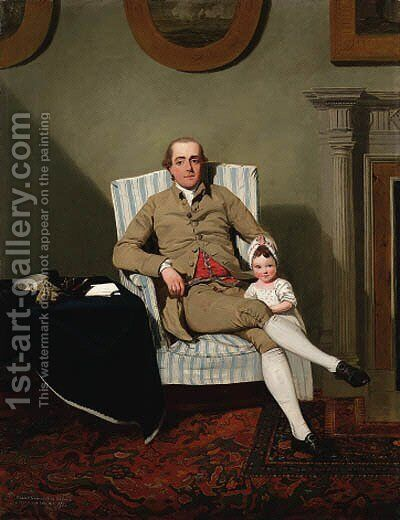 Double portrait of Robert Grimston of Neswick, Yorkshire by (after) Francis Wheatley - Reproduction Oil Painting