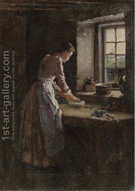 Making bread by (after) Frank Bramley - Reproduction Oil Painting