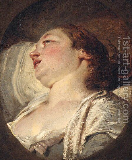 A woman, head and shoulders by (after) Francois Boucher - Reproduction Oil Painting