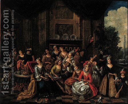 An elegant company on a terrace by (after) Franz Xavier Hendrick Verbeeck - Reproduction Oil Painting