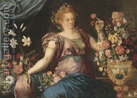 A woman seated with ornamental vases of flowers by (attr. to) Floris, Frans - Reproduction Oil Painting
