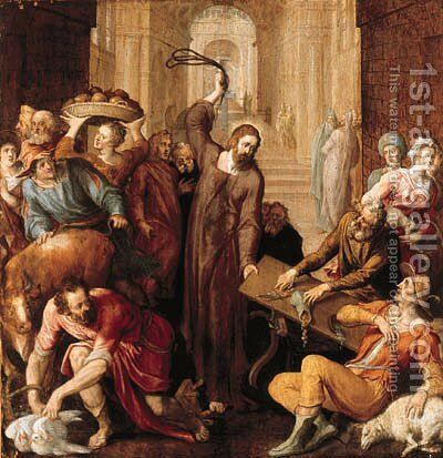 Christ driving the money lenders from the Temple by (attr. to) Floris, Frans - Reproduction Oil Painting
