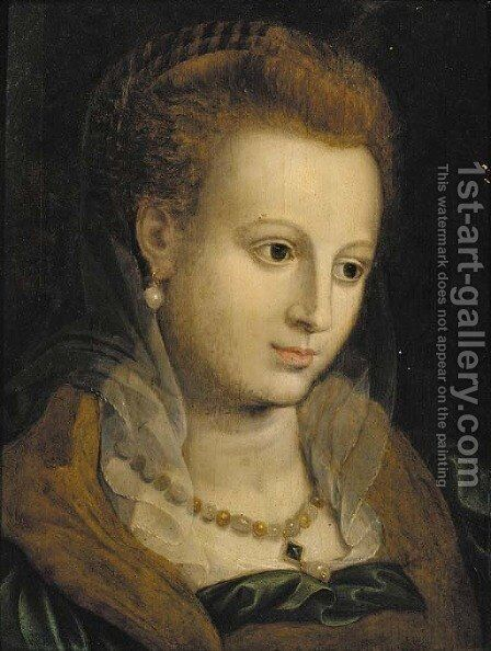 Portrait of a lady, bust-length, wearing a pearl necklace by (attr. to) Floris, Frans - Reproduction Oil Painting