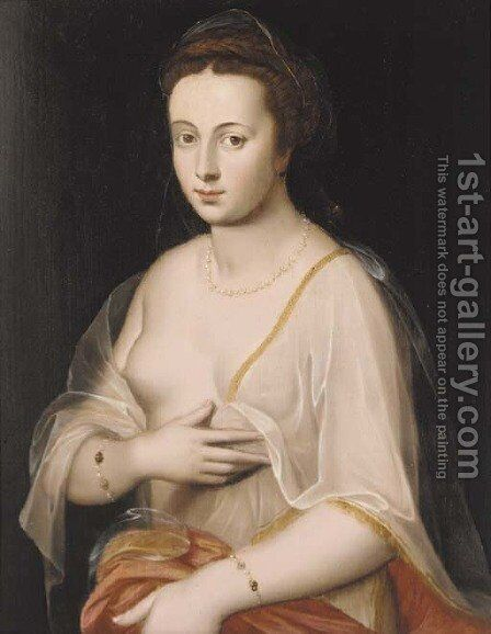 Portrait of a lady, half-length, wearing a pearl necklace, bracelets and a gossamer wrap by (attr. to) Floris, Frans - Reproduction Oil Painting