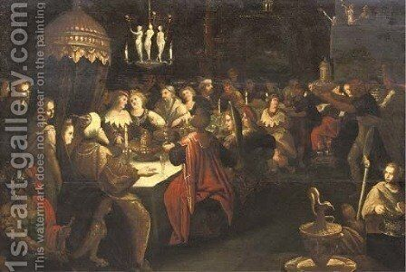 Belshazzar's Feast 3 by (after) Frans II Francken - Reproduction Oil Painting