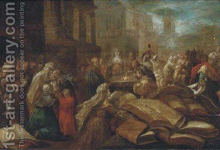 Figures at a temple a ceremony to Minerva by (after) Frans II Francken - Reproduction Oil Painting