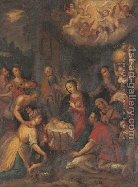The Adoration of the Shepherds 2 by (after) Frans II Francken - Reproduction Oil Painting