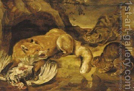 A fox defending its kill from wild cats by (after) Frans Snyders - Reproduction Oil Painting