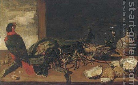 A parrot, a lobster, an artichoke, oysters, a roemer of wine and a flask on a ledge by (after) Frans Snyders - Reproduction Oil Painting