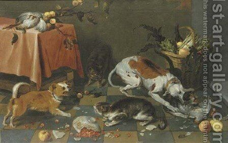 Dogs and cats fighting in a kitchen interior by (after) Frans Snyders - Reproduction Oil Painting