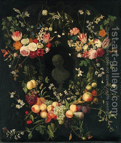 Swags of Flowers decorating a Niche with a Portrait Bust of a Lady by (after) Frans Van Everbroeck - Reproduction Oil Painting