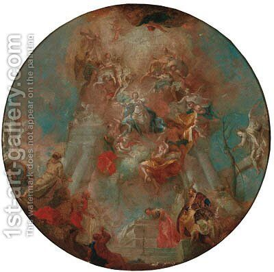The Assumption of the Virgin - a modello for a dome by (after) Franz Anton Maulbertsch - Reproduction Oil Painting