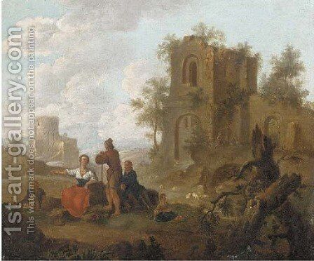A landscape with figures conversing before ruins; and A river landscape with figures conversing before ruins by (after) Franz Ferg - Reproduction Oil Painting