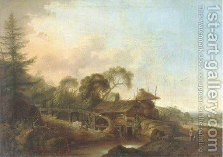 A wooded river landscape with a watermill, figures conversing on a path nearby by (after) Franz Ferg - Reproduction Oil Painting