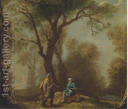 A woodland clearing with travellers on a path by (after) Franz Ferg - Reproduction Oil Painting