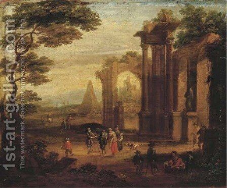An Italianate landscape with figures strolling and resting by a ruin by (after) Franz Ferg - Reproduction Oil Painting