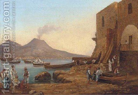 Fishermen on the shores of the bay of Naples by (after) Franz Ludwig Catel - Reproduction Oil Painting