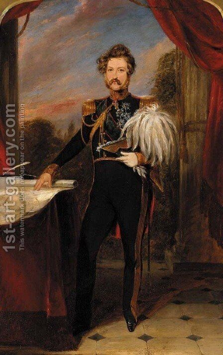 Portrait on a gentleman by (after) Franz Xaver Winterhalter - Reproduction Oil Painting
