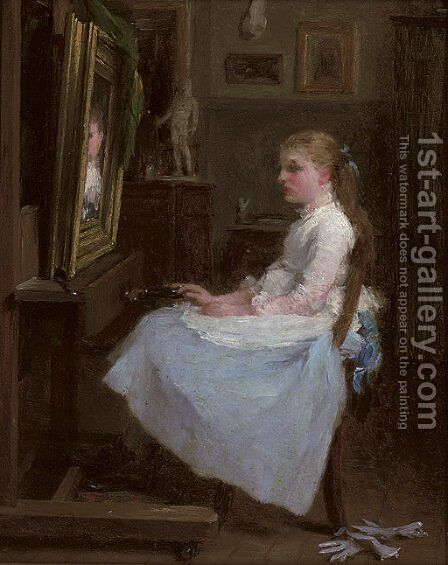 The young portrait painter by (after) Frederick Daniel Hardy - Reproduction Oil Painting