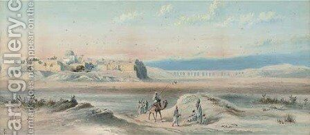 Arab travellers at sunset, a town beyond by (after) Goodall, Frederick - Reproduction Oil Painting