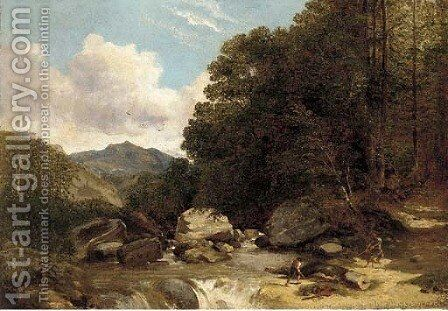 Loggers in a river landscape by (after) Frederick Richard Lee - Reproduction Oil Painting
