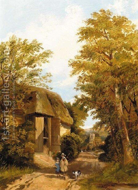 Figures on a track by a barn, a village beyond by (after) Frederick Richard Lee - Reproduction Oil Painting