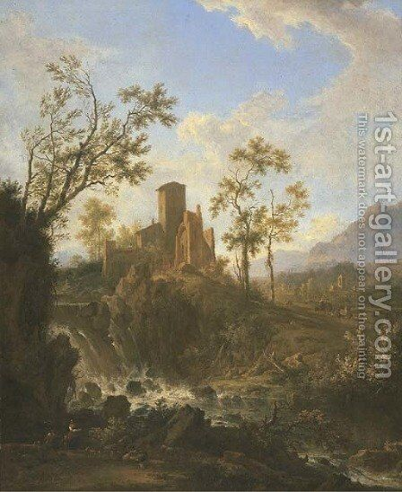 An Italianate river landscape with a nietherd by (after) Frederick De Moucheron - Reproduction Oil Painting