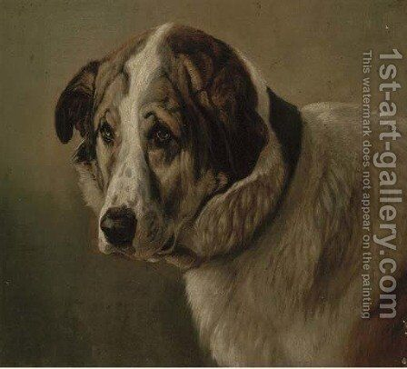 A St. Bernard by (after) Friedrich Wilhelm Keyl - Reproduction Oil Painting