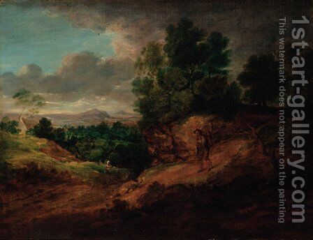 An extensive wooded landscape with figures by (after) Gainsborough Dupont - Reproduction Oil Painting